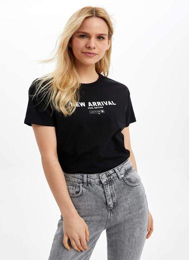 DeFacto Baskılı Kısa Kollu T-Shirt Siyah